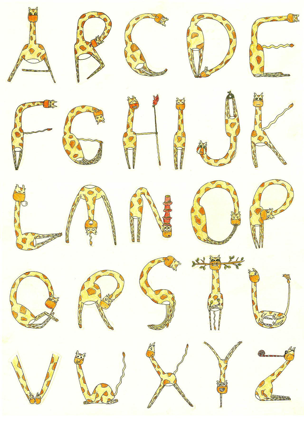 夸张扭曲的身体加上可爱多变的表情使原本枯燥单一的字母变得生动起来图片