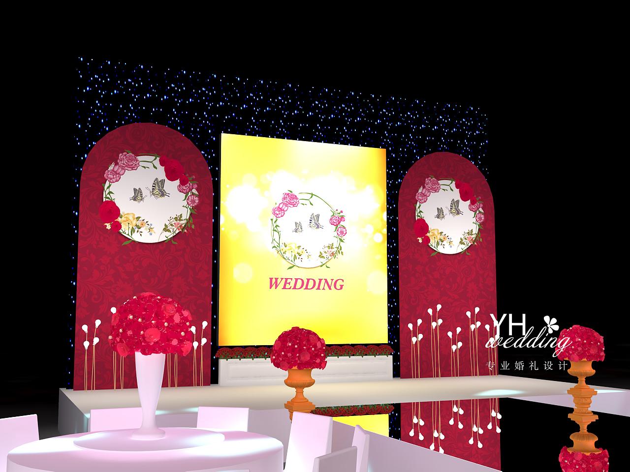 酒红色婚礼舞台3d效果图 出场处水晶吊顶 华丽婚礼效果图图片