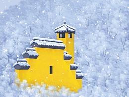 山静尘清-发着光的永福寺雪景