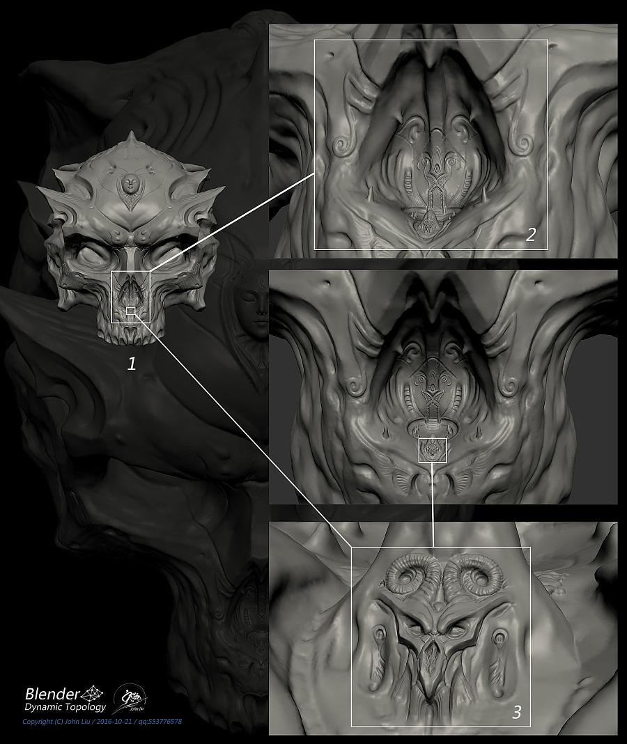 查看《Blender动态雕刻极限测试作品-双生头骨》原图,原图尺寸:1769x2100