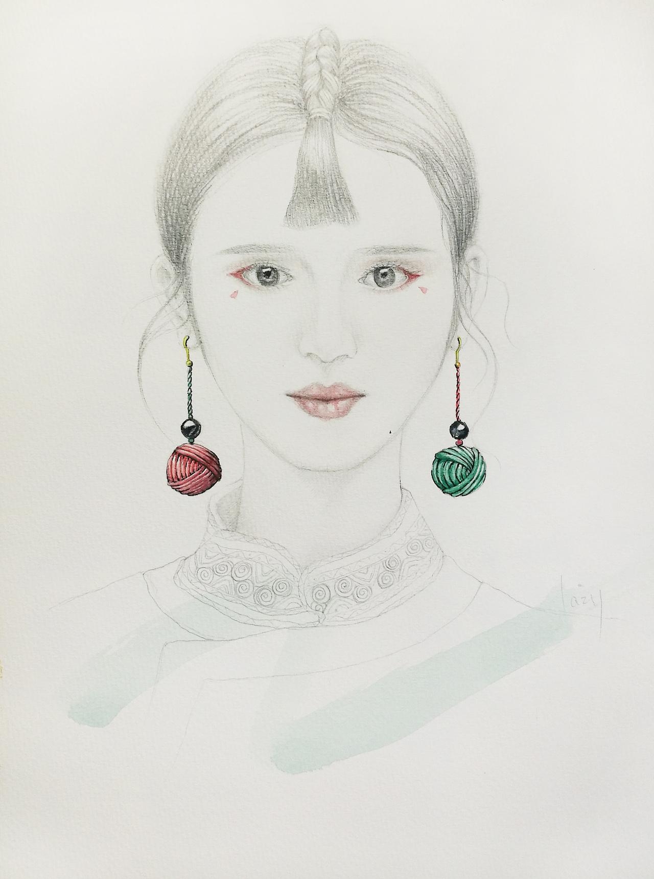 人像&珠宝手绘|手工艺|首饰|不装会死美少女 - 原创