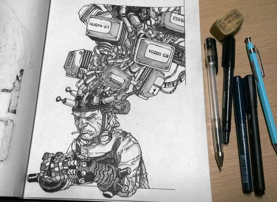 疯狂思考!针管笔手绘插画