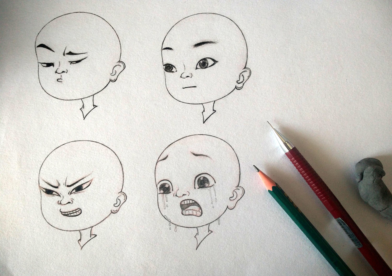 手绘小和尚表情素描稿