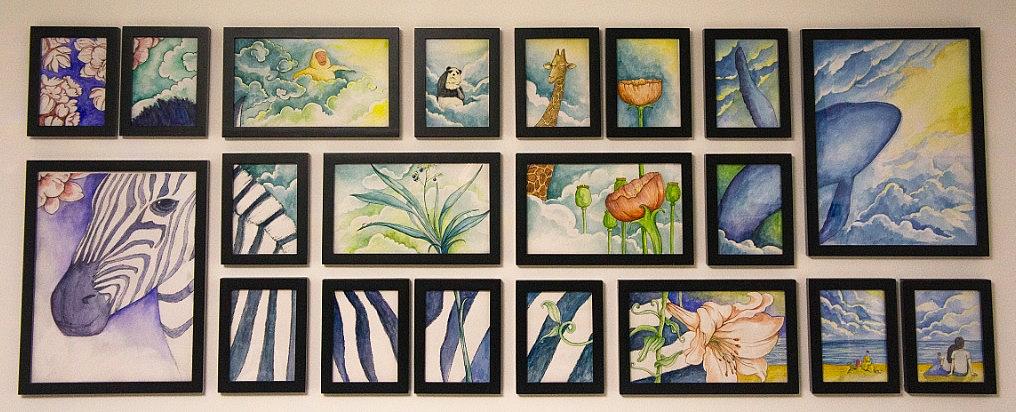 芯梦奇缘 手绘水彩 组合壁画图片