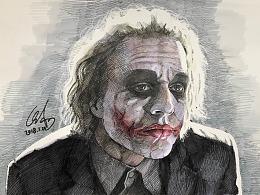 手绘-希斯莱杰逝世十周年祭-蝙蝠侠:黑暗骑士-小丑