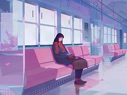 故事插画——走过时间 遇见你