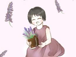 薰衣草小女孩