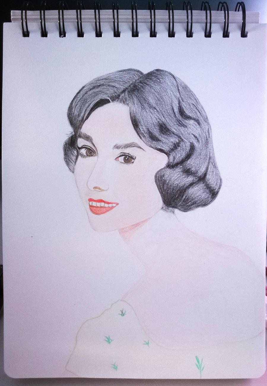 奥黛丽赫本彩铅手绘