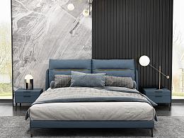 意家具床跟床头柜