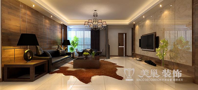 康桥溪山御府160平四室两厅现代简约装修效果图——客厅布局