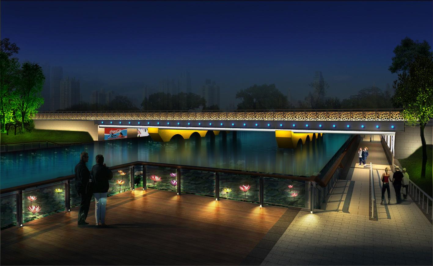 桥梁景观灯光照明设计图片
