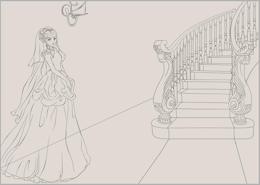 鱼尾婚纱简笔画手绘