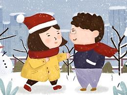冬日系列插画作品集