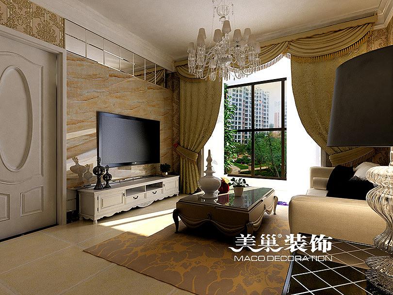 锦绣山河89平两室两厅简欧风格装修效果图——电视背景墙