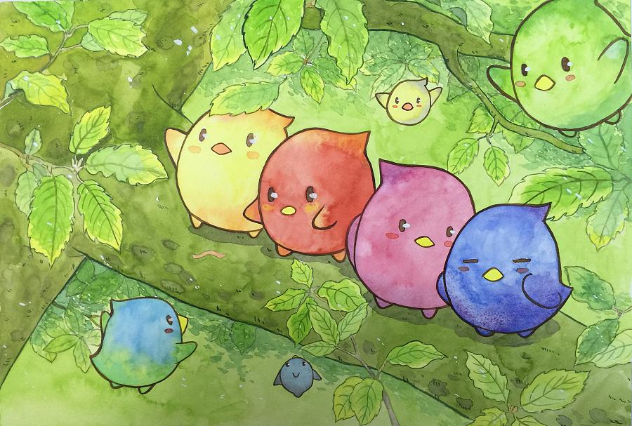 童画画鸟_水彩萌萌鸟|儿童插画|插画|winwinwing - 原创设计