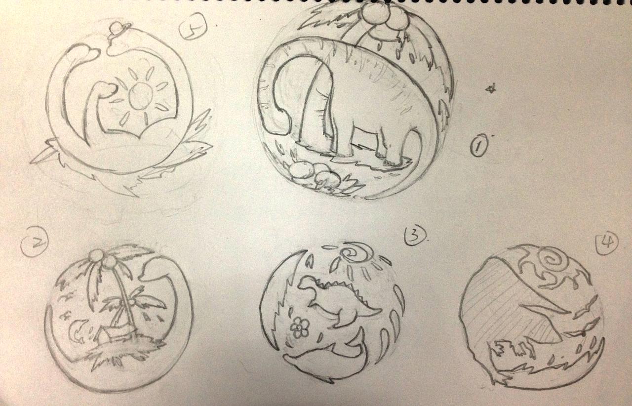 常州恐龙园主题酒店logo设计 手绘稿过程