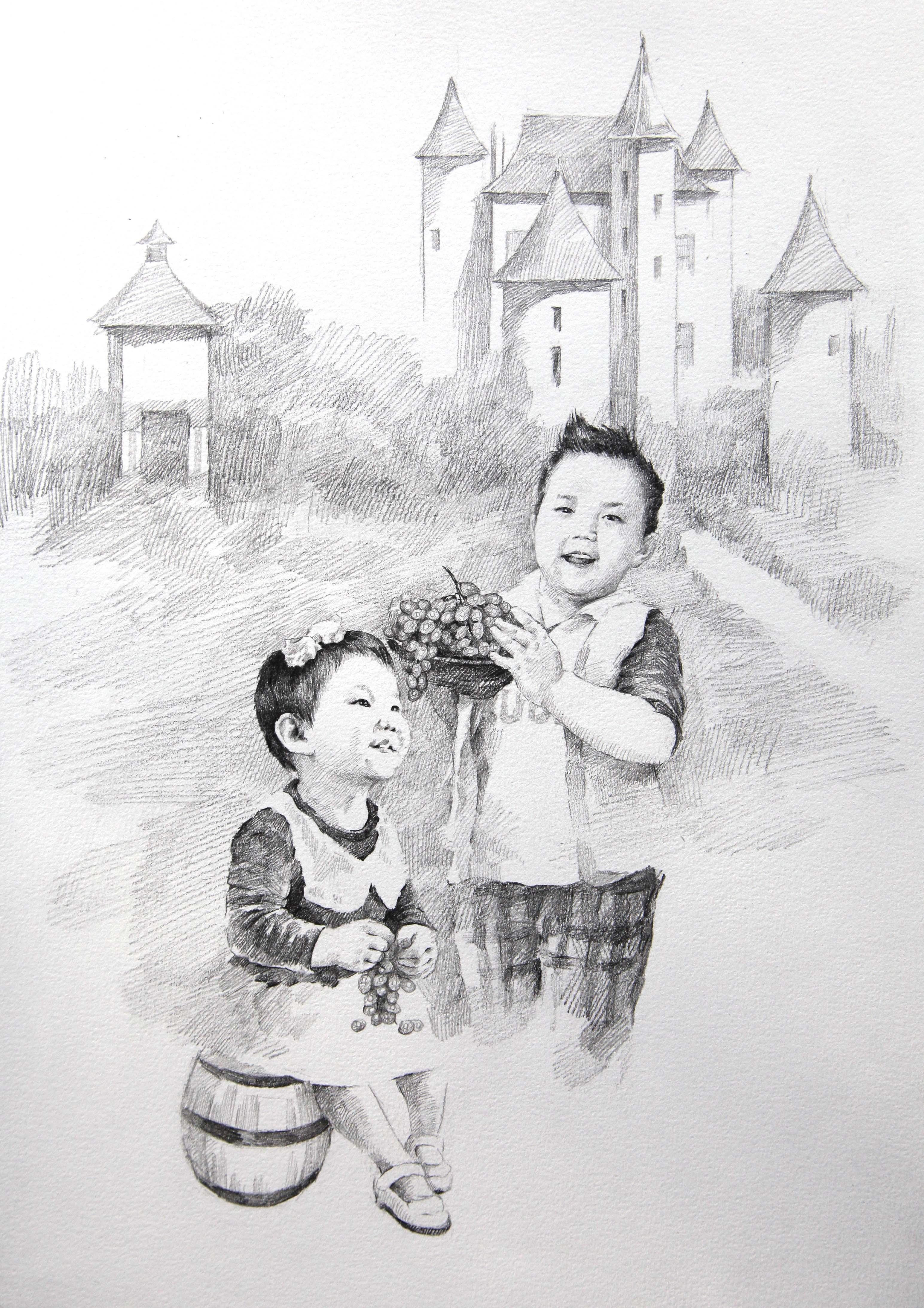 简笔画 手绘 素描 线稿 3090_4374 竖版 竖屏