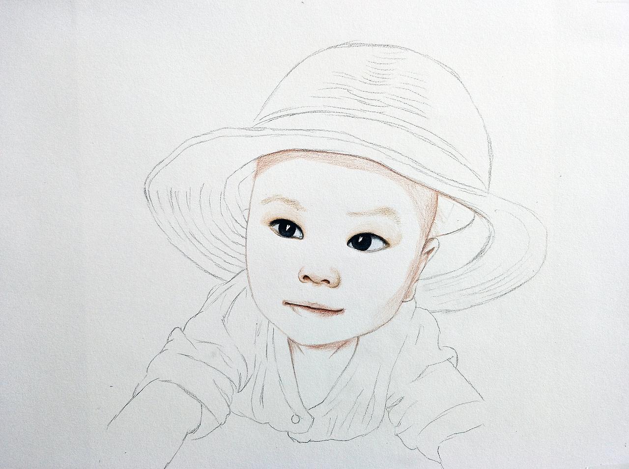 彩铅手绘儿童肖像画---叶青(过程)