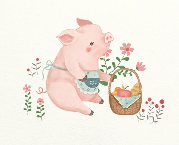 猪年画只小猪猪图片