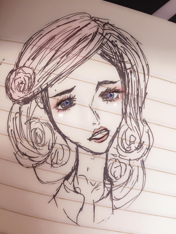 手绘长发女人微信头像
