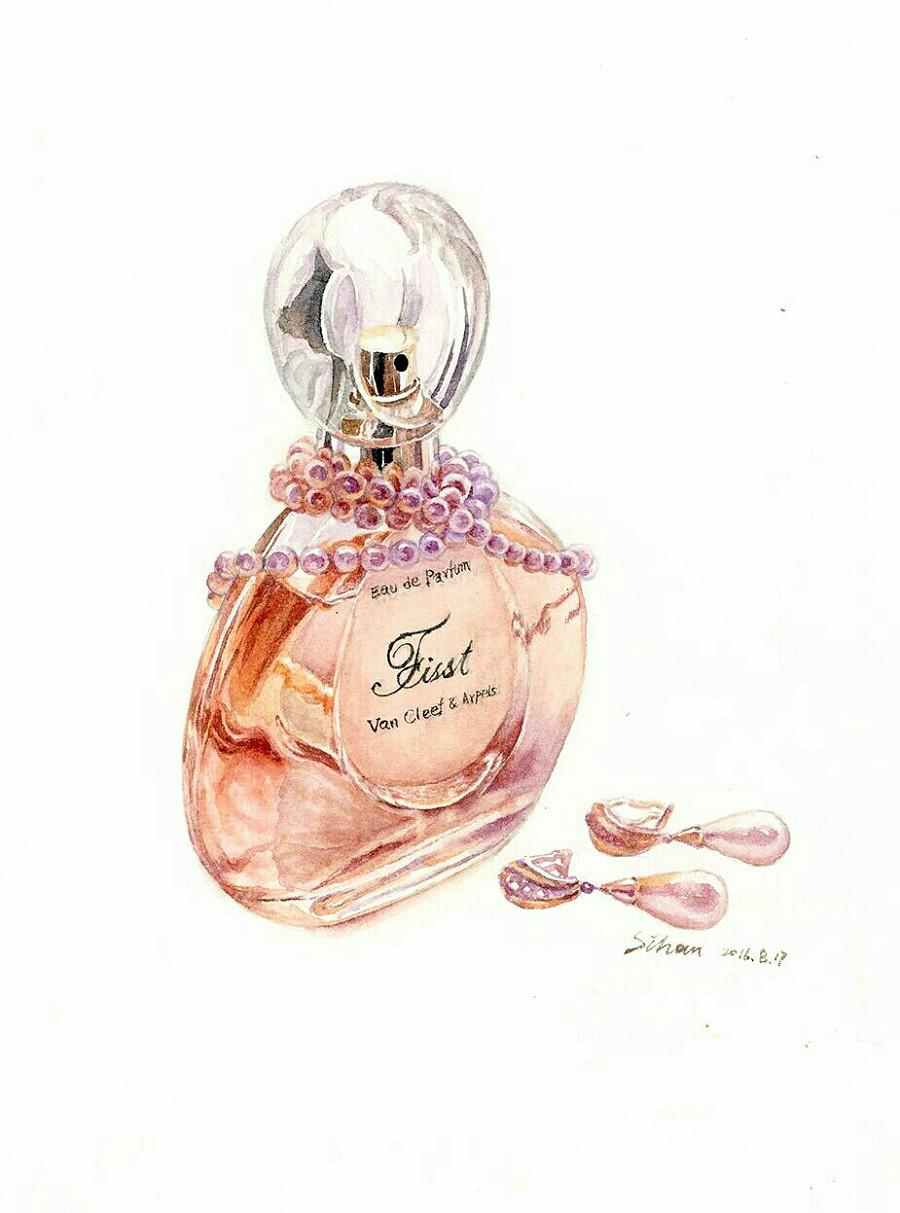 原创作品:水彩手绘香水