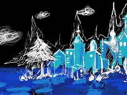 手绘涂鸦梦幻城堡插画