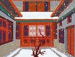 中国风古建筑中国红