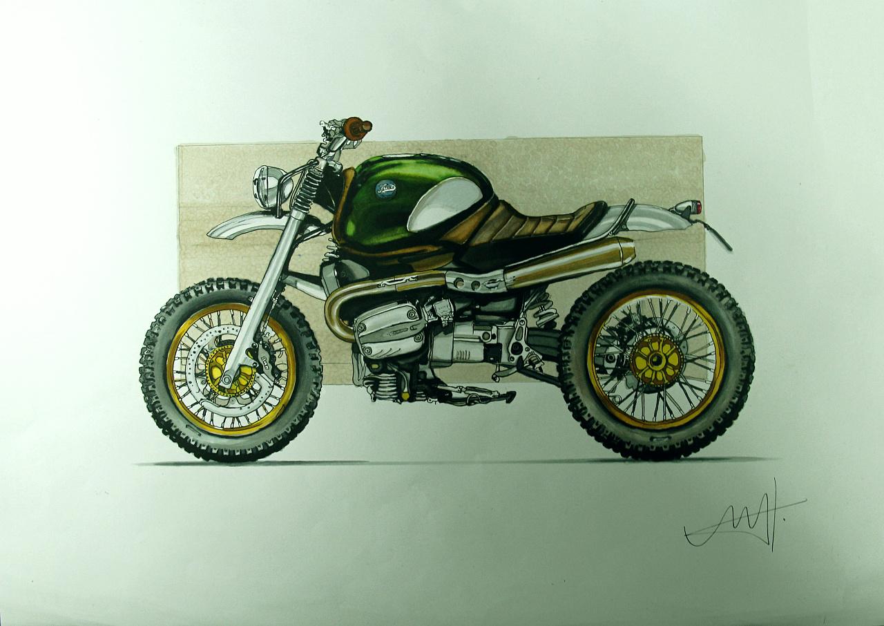 摩托车手绘:针管笔 马克笔