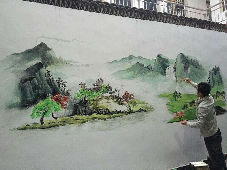 手绘墙 壁画 兄弟庭院巨幅山水