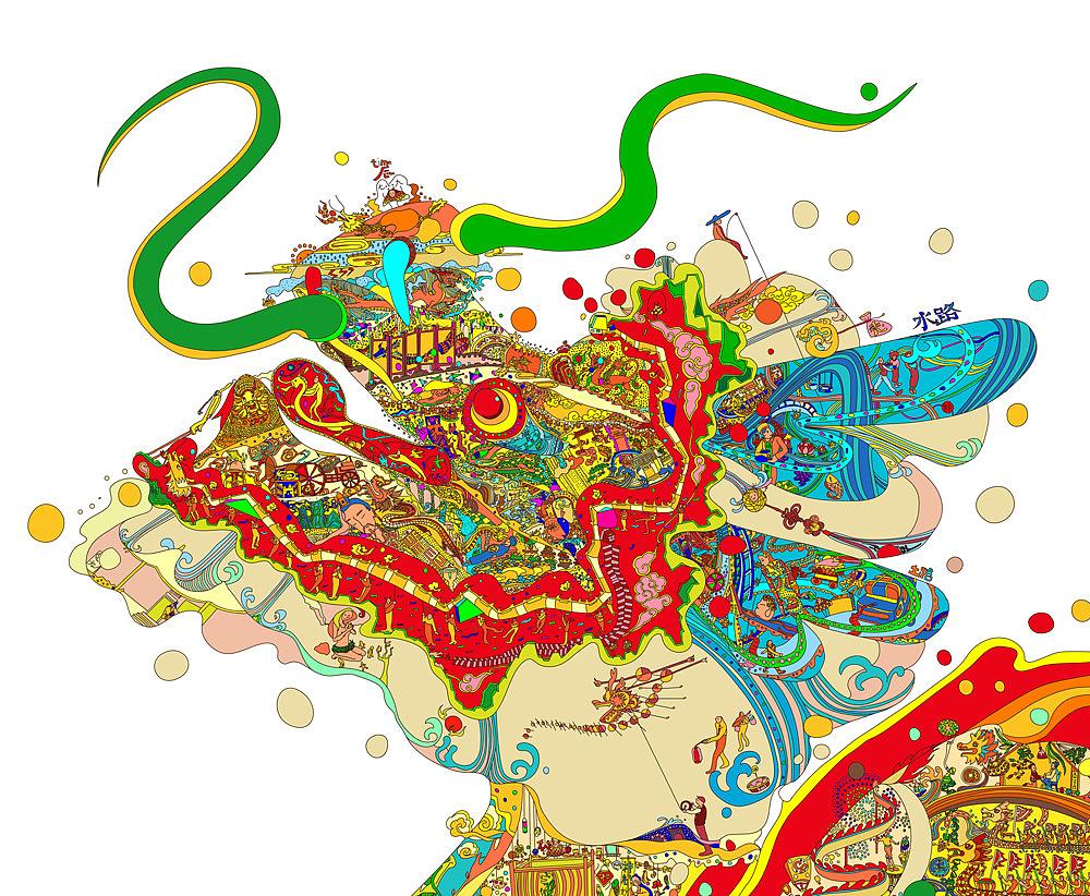 涂鸦手绘中国地图
