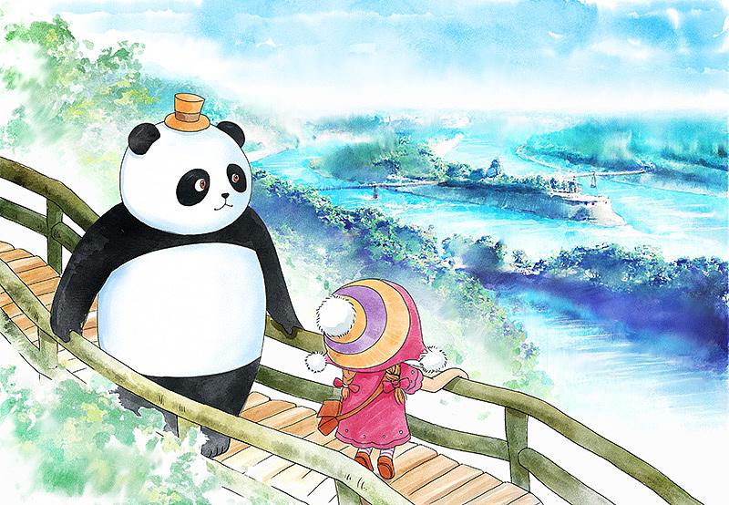 旅游景点熊猫明信片创作小集
