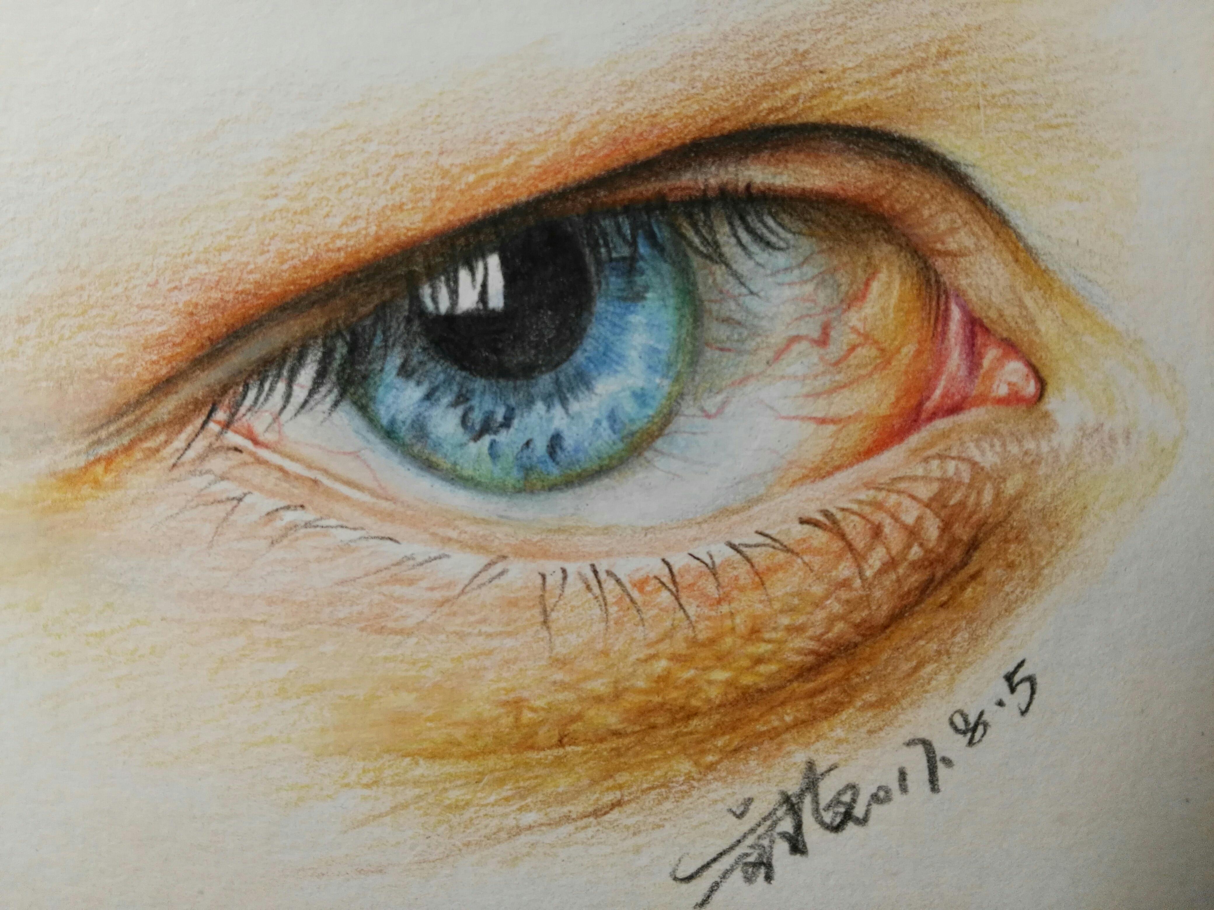 第一次做彩铅眼睛教程,有很多不足多指教