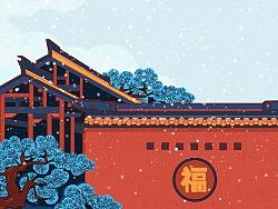 新年中国古建筑风