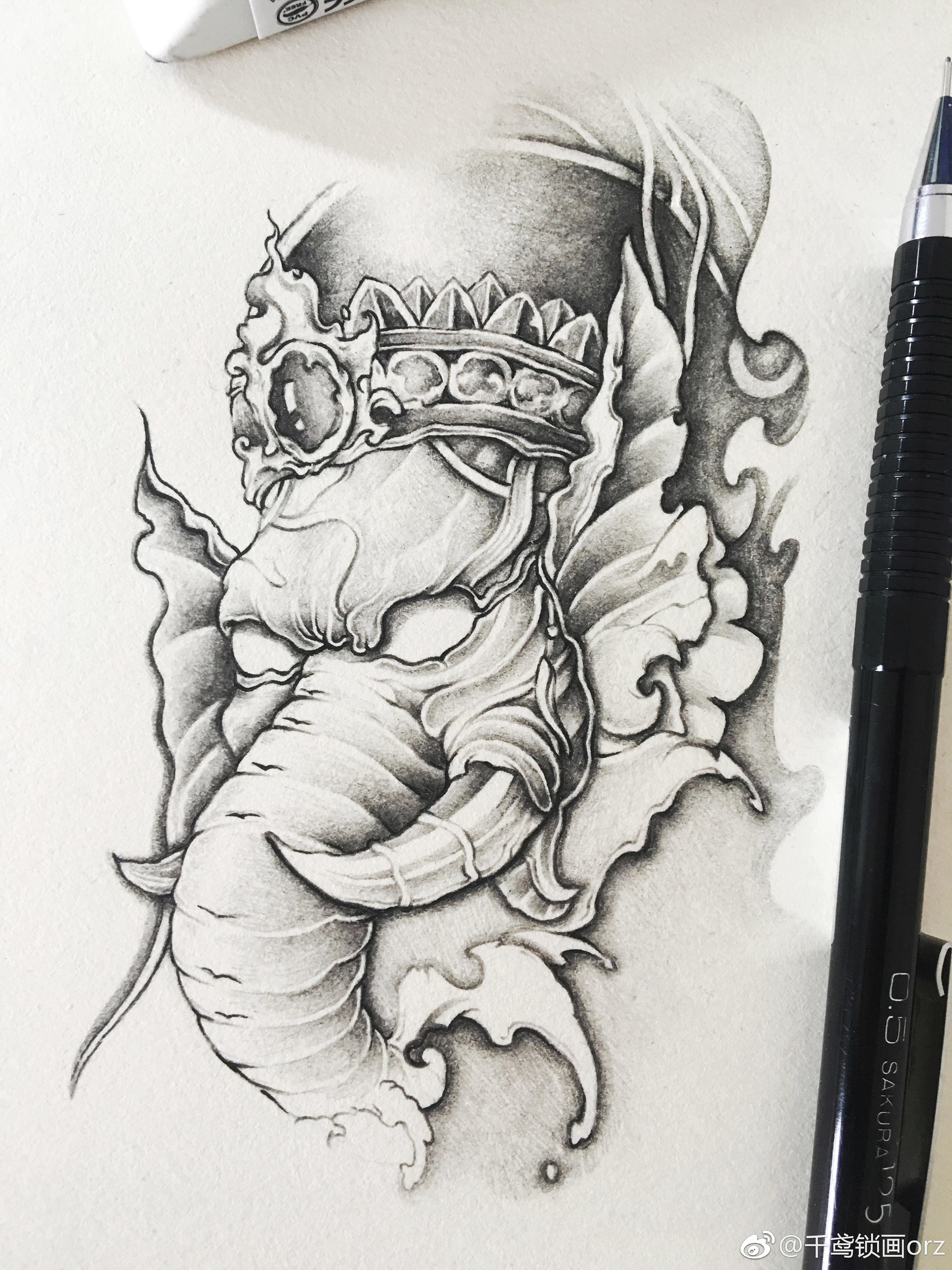 纹身手稿|纯艺术|素描|千鸢锁画 - 原创作品 - 站酷