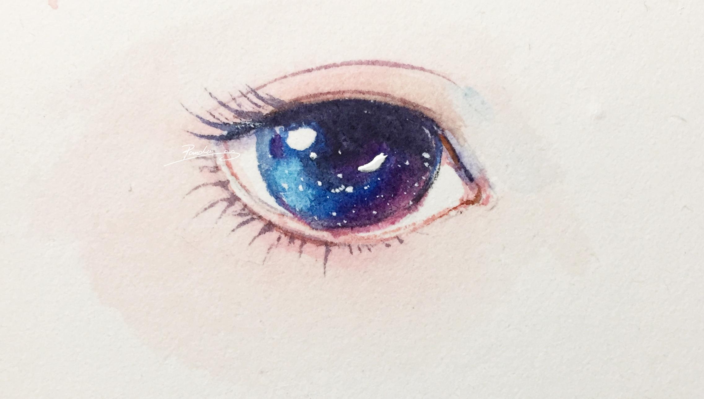 【小熊猫】水彩手绘人物水彩五官眼睛教程人物卡通头像手绘水彩步骤