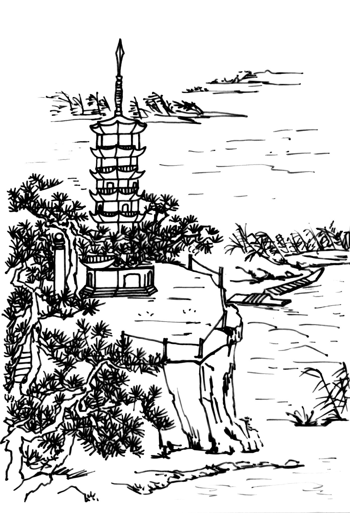 手绘风景图