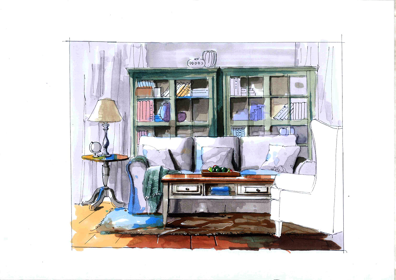 室内家具手绘效果图-室内效果图课程|床手绘效果图|室内局部手绘效果