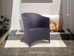 户外沙发式藤椅——详情页