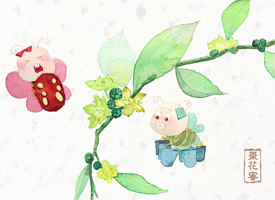 两只蜜蜂(水彩)——蜂蜜系列水彩插画
