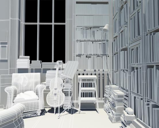 欧式书房|三维|场景|迷茫丶蜕变 - 原创作品 - 站酷