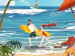 大暑-24节气启动页闪屏h5插画