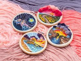 王的手创 俄罗斯立体刺绣diy材料包装饰画水浪星城