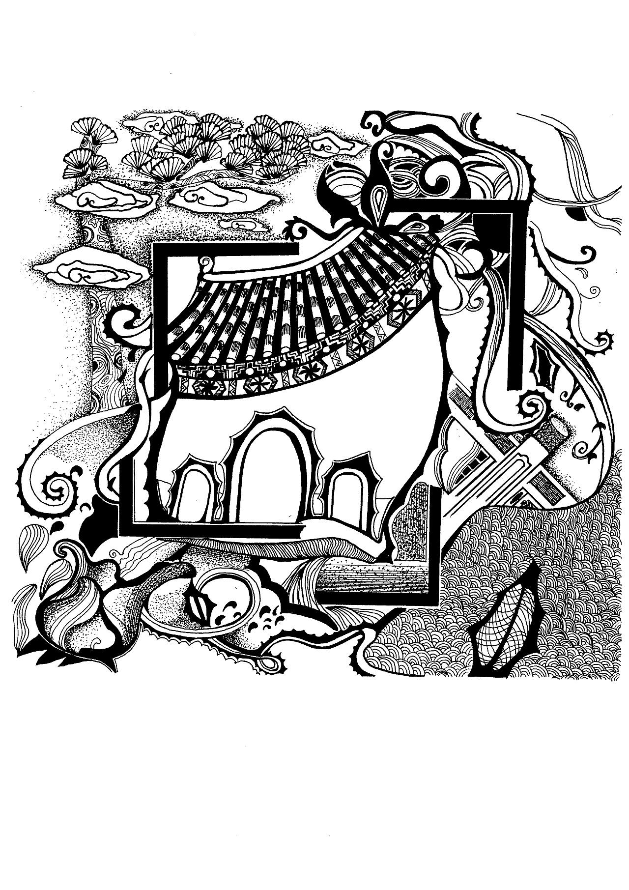 黑白风景画_《手绘|黑白装饰画》(四)|纯艺术|速写|GD权世界 - 原创作品 ...