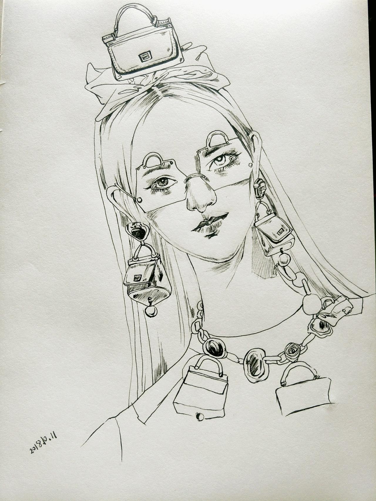 彩铅画古代侠女手绘图