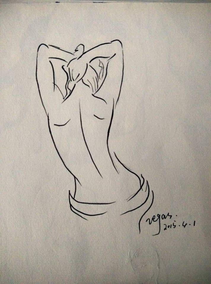 性感素描简笔手绘