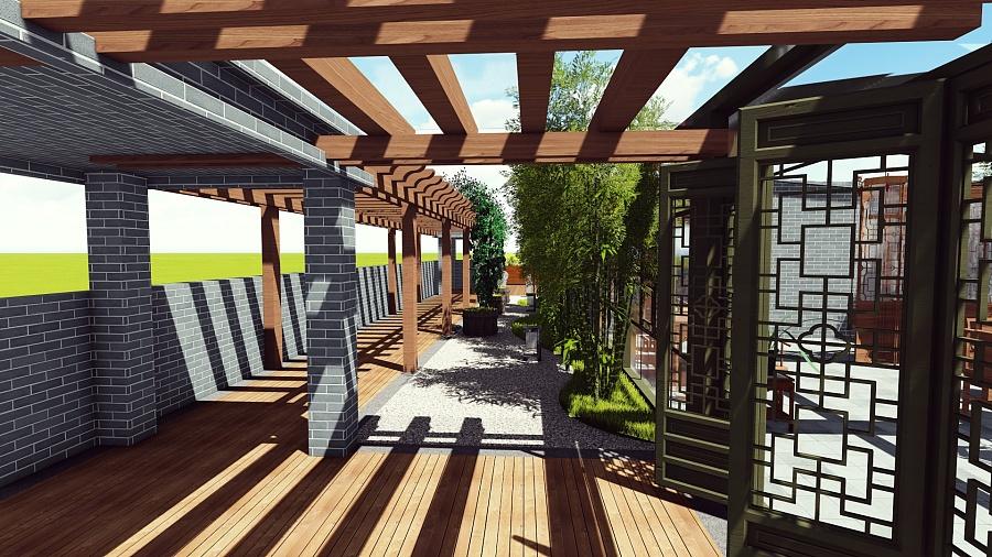 中式屋顶花园图片