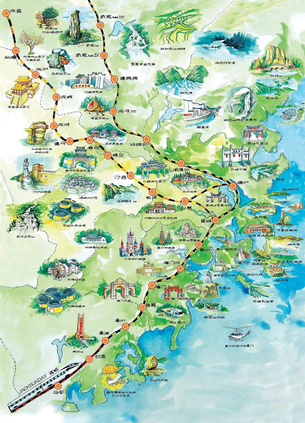 厦深线(厦门到深圳,包括福建省内的厦门北、角美、漳州、漳浦、云霄、诏安6个站),几条高铁线基本涵盖了所有福建省内的旅游景点!