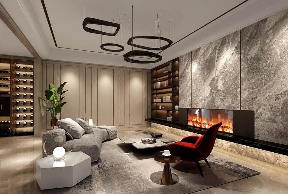 地下影音室_亚星观邸220平现代轻奢风格别墅装修效果图欣赏---地下室影音室