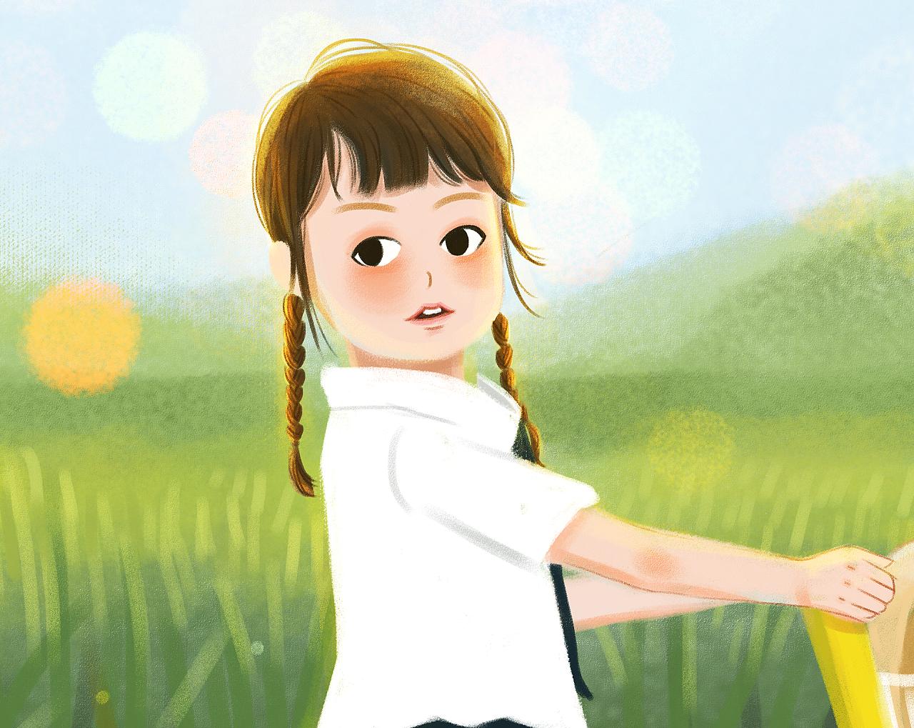 手绘插画 小女孩 小男孩
