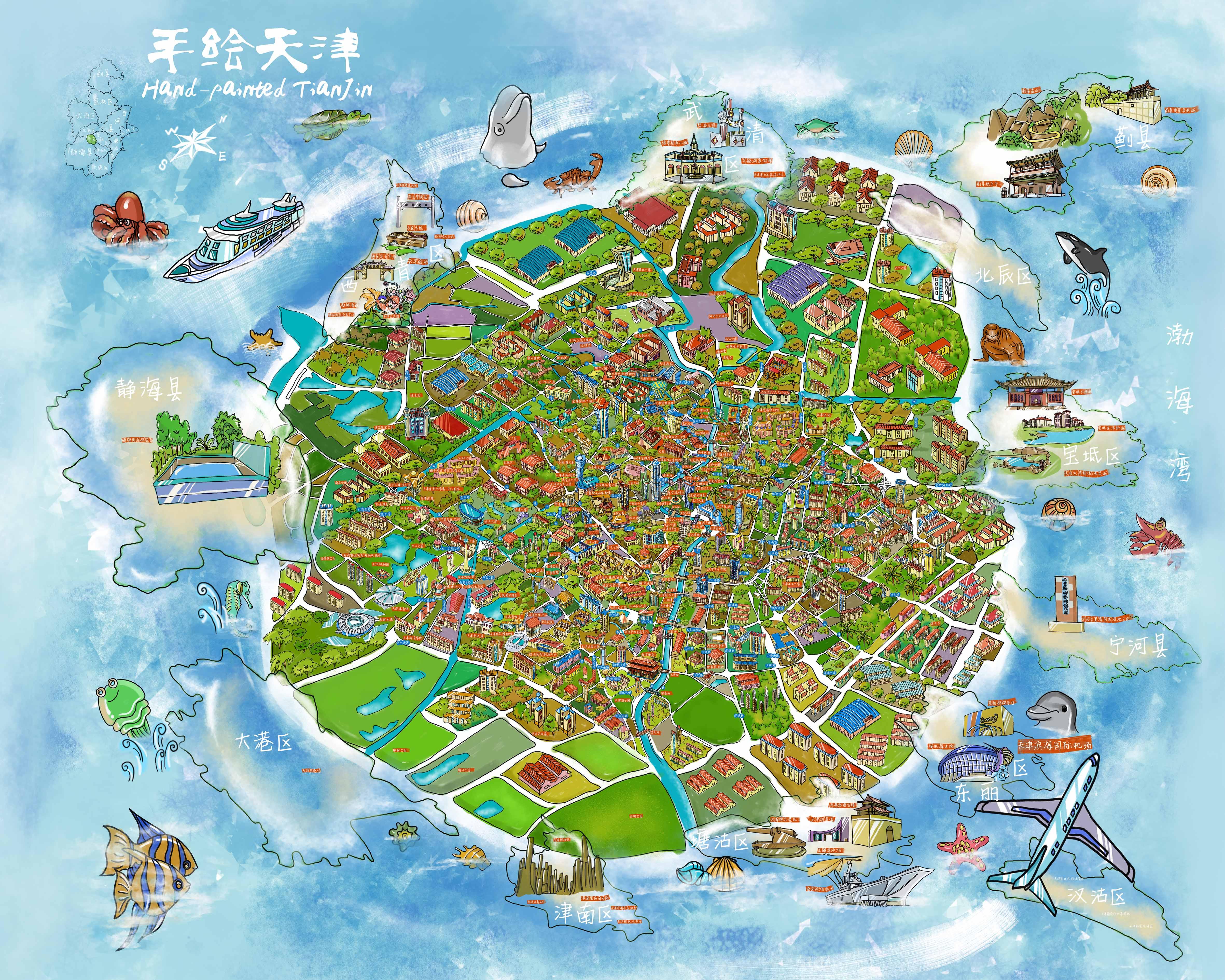 天津市手绘地图